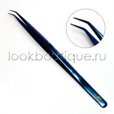 Пинцет L-образный slim синий, японская сталь
