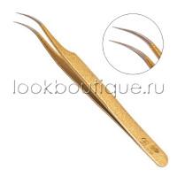 Пинцет Look boutique изогнутый (напыление золото)