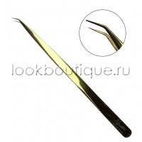 Пинцет L-образный slim золотой, японская сталь