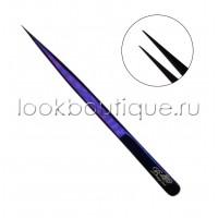 Пинцет прямой Slim фиолетовый из японской стали