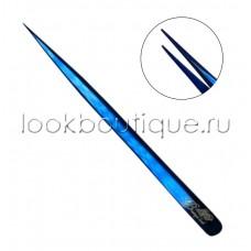 Пинцет прямой Slim синий из японской стали