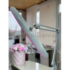Бестеневая рабочая лампа белая с розовой подсветкой на струбцине LED, 117 светодиодов