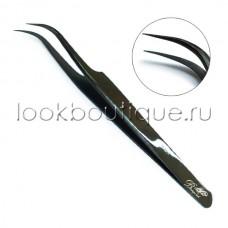 Пинцет изогнутый (японская сталь), чёрный