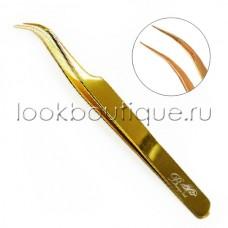 Пинцет изогнутый (японская сталь), золото