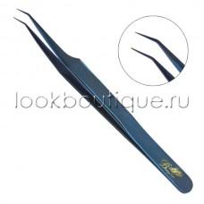 Пинцет L-образный синий, японская сталь