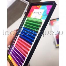 Ресницы eLSHINE цветные (зеленый/синий/фиолетовый/розовый), микс, 16 лент (11/12 длины)